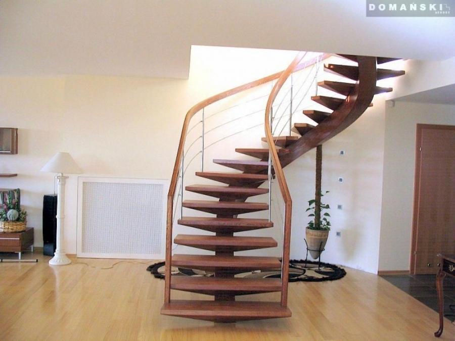 Inne rodzaje Schody wewnętrzne drewniane, nowoczesne schody kręcone dębowe FW61